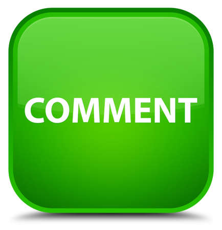 Comment isolated on special green square button abstract illustration Reklamní fotografie