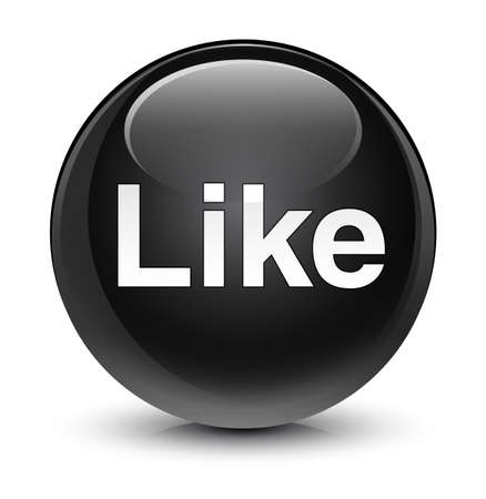 Like isolated on glassy black round button abstract illustration Stock Photo