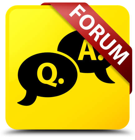 Forum (question answer bubble icon) isolated on yellow square button with red ribbon in corner abstract illustration Stock Photo