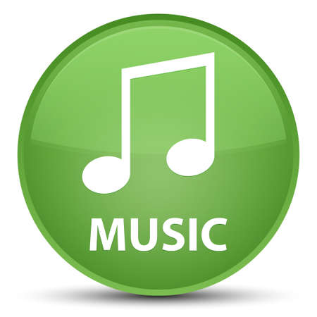 Music (tune icon) isolated on special soft green round button abstract illustration