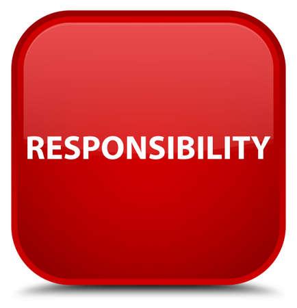 Verantwoordelijkheid op speciale rode vierkante knoop abstracte illustratie die wordt geïsoleerd