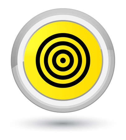 Target icon isolated on prime yellow round button abstract illustration