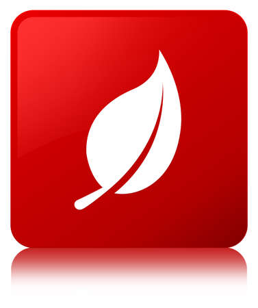 Leaf icon isolated on red square button reflected abstract illustration