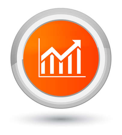 Statistics icon isolated on prime orange round button abstract illustration