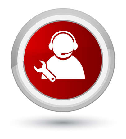 Tech support icon isolated on prime red round button abstract illustration Stock Photo