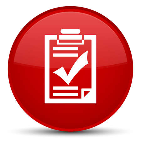 Checklist icon isolated on special red round button abstract illustration