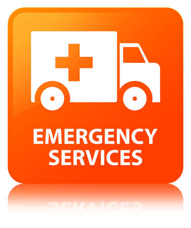 Emergency services isolated on orange square button reflected abstract illustration