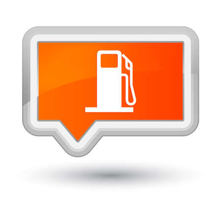 filling station: Fuel dispenser icon isolated on prime orange banner button abstract illustration Stock Photo