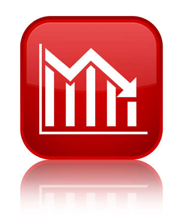 Statistics down icon isolated on special red square button reflected abstract illustration