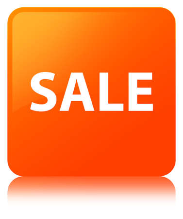 Sale isolated on orange square button reflected abstract illustration Stock Photo