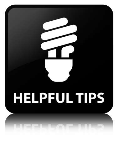 Helpful tips (bulb icon) isolated on black square button reflected abstract illustration