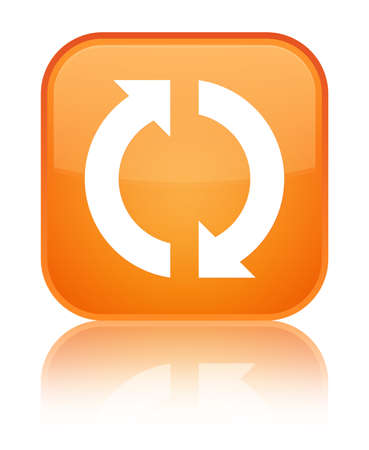 Update icon isolated on special orange square button reflected abstract illustration Stock Photo
