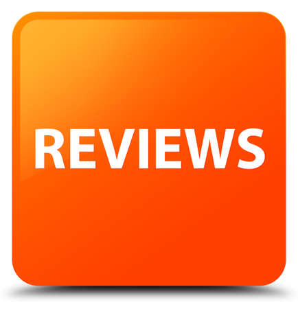 Reviews isolated on orange square button abstract illustration Stock Photo