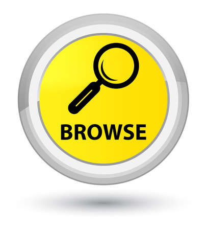Browse isolated on prime yellow round button abstract illustration Stock Photo