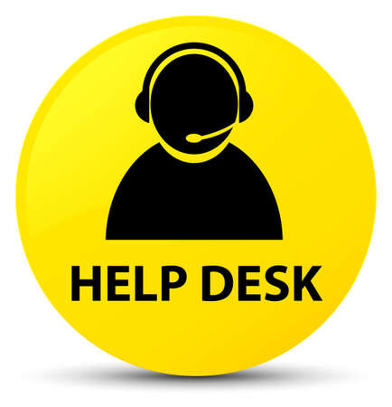 Help desk (customer care icon) isolated on yellow round button abstract illustration