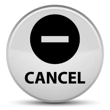 Cancel isolated on special white round button abstract illustration