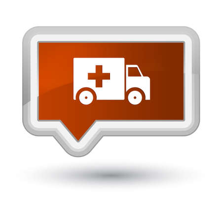 Ambulance icon isolated on prime brown banner button abstract illustration Stock Photo
