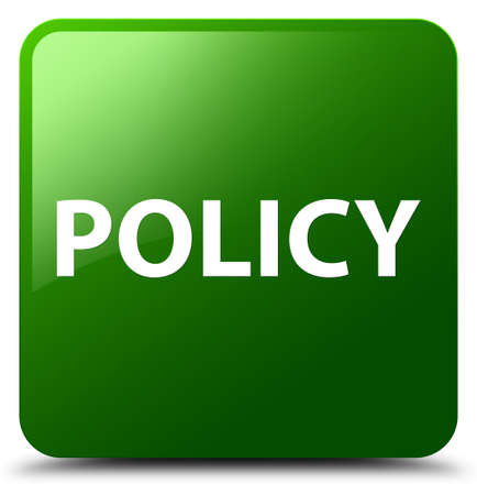 Policy isolated on green square button abstract illustration