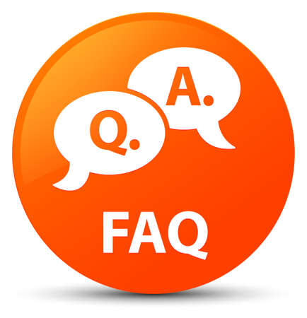Faq (question answer bubble icon) isolated on orange round button abstract illustration