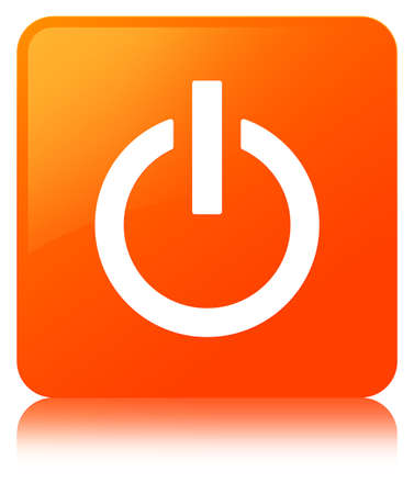 Power icon isolated on orange square button reflected abstract illustration