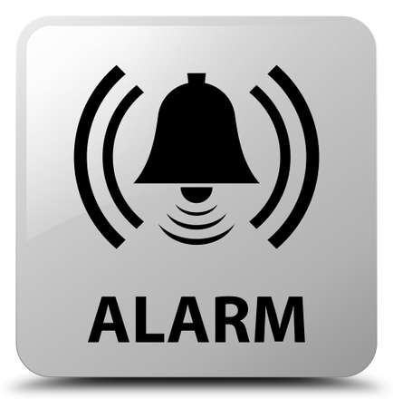 Alarm (bell icon) isolated on white square button abstract illustration Stock Photo