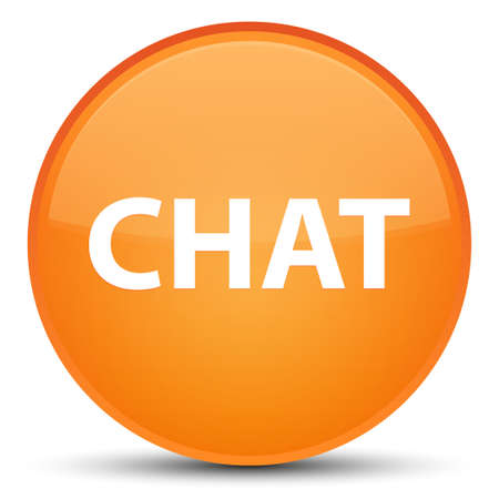 Chat isolated on special orange round button abstract illustration Stock Photo