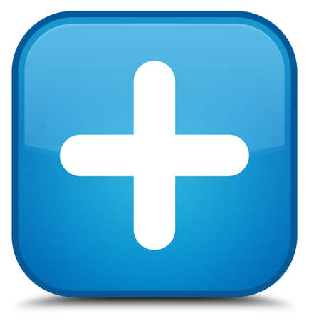 Plus icon isolated on special cyan blue square button abstract illustration