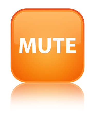 Mute isolated on special orange square button reflected abstract illustration