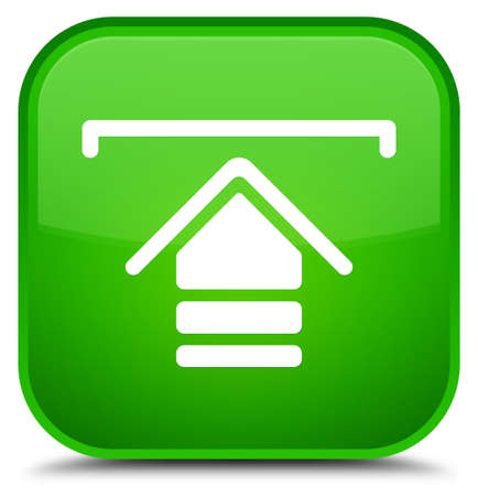 Upload icon isolated on special green square button abstract illustration