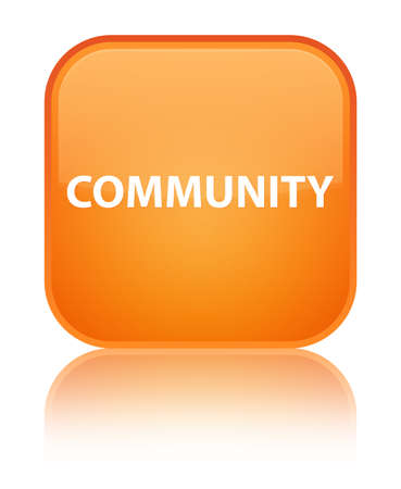 Community isolated on special orange square button reflected abstract illustration