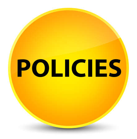 Policies isolated on elegant yellow round button abstract illustration