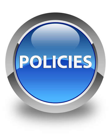 Policies isolated on glossy blue round button abstract illustration Banco de Imagens