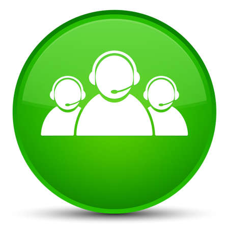 Customer care team icon isolated on special green round button abstract illustration
