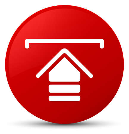 Upload icon isolated on red round button abstract illustration