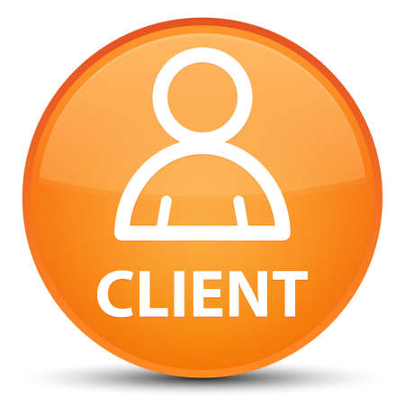 Client (member icon) isolated on special orange round button abstract illustration Stock Photo