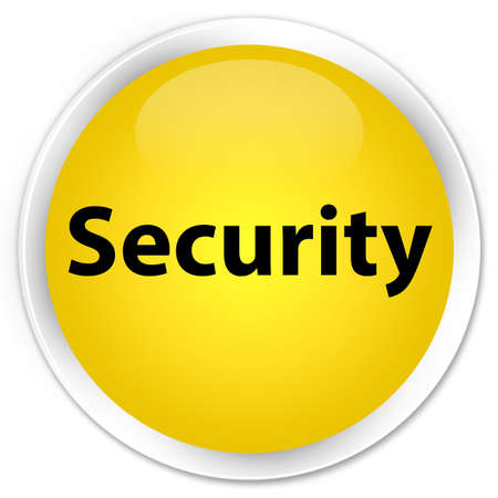 privacy: Security isolated on premium yellow round button abstract illustration Stock Photo