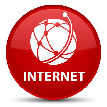 Internet (global network icon) isolated on special red round button abstract illustration Stock Photo