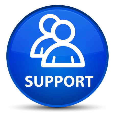 Support (group icon) isolated on special blue round button abstract illustration