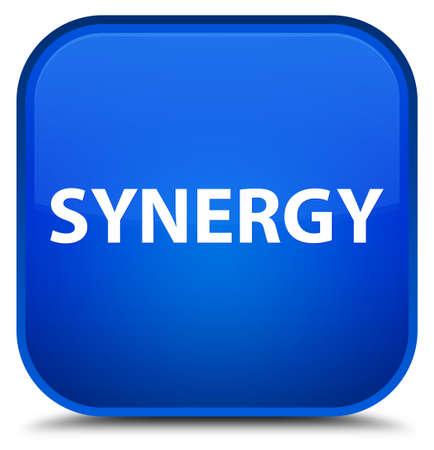 Synergie op speciale blauwe vierkante knoop abstracte illustratie die wordt geïsoleerd