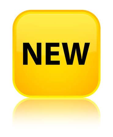 Neu lokalisiert auf speziellem gelbem quadratischem Knopf reflektierte abstrakte Illustration