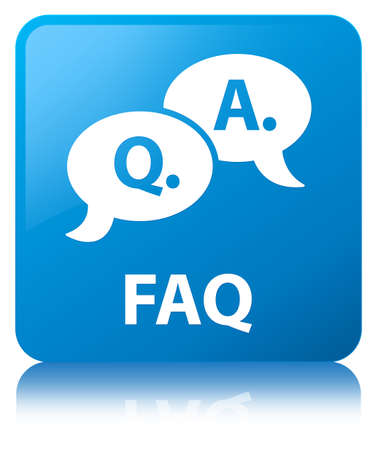 Faq (question answer bubble icon) isolated on cyan blue square button reflected abstract illustration Stock Photo