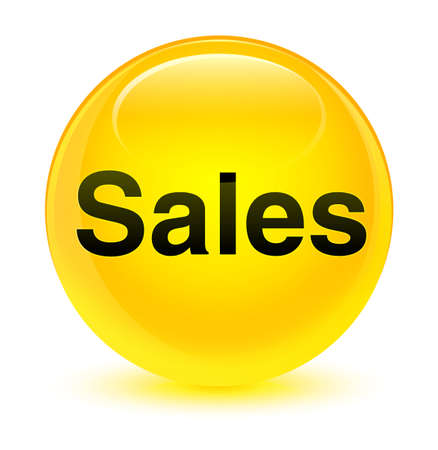 Sales isolated on glassy yellow round button abstract illustration Stock Photo