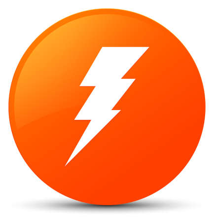 Electricity icon isolated on orange round button abstract illustration