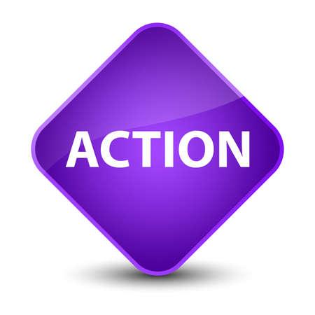 Action isolated on elegant purple diamond button abstract illustration