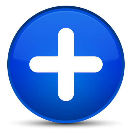Plus icon isolated on special blue round button abstract illustration