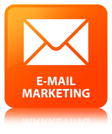 E-mail marketing isolated on orange square button reflected abstract illustration