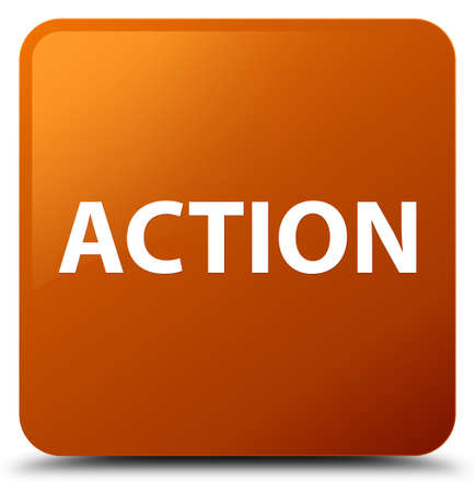 Action isolated on brown square button abstract illustration
