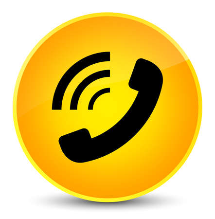 hotline: Phone ringing icon isolated on elegant yellow round button abstract illustration
