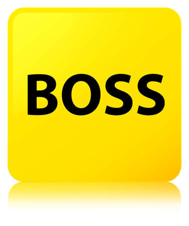 Boss isolated on yellow square button reflected abstract illustration Stock Photo