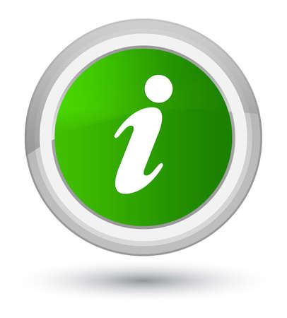 about: Info icon isolated on prime green round button abstract illustration